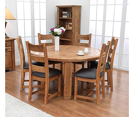 Oak Veneer Table And 6 Chairs