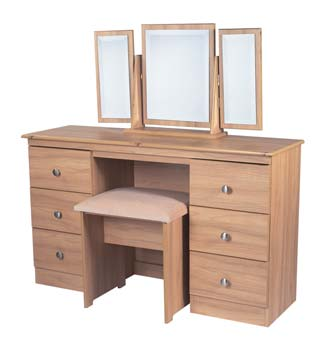 Bala Walnut 6 Drawer Dressing Table