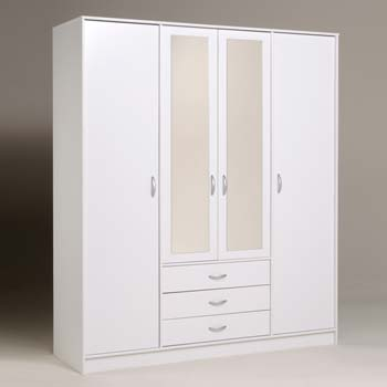 Furniture123 cydia 3 drawer 4 door mirrored wardrobe in for Furniture 123 wardrobes