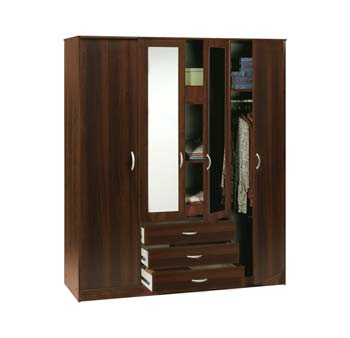 Furniture123 cydia 4 door 3 drawer mirrored wardrobe in for Furniture 123 wardrobes