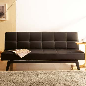 Cheap Julian Bowen Supra Faux Leather Sofa Bed Black Small