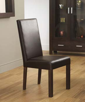 furniture123 nyon walnut large leather dining chairs in brown