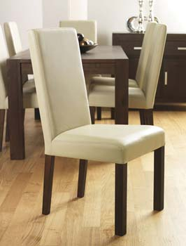 furniture123 nyon walnut large leather dining chairs in ivory