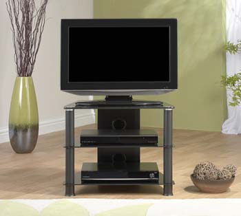 Furniture123 Thorley Black Glass Compact Corner TV Unit TL007