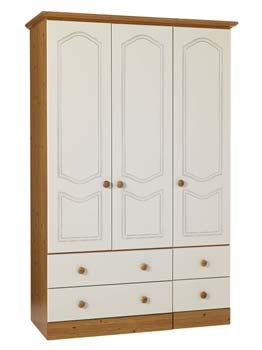 Wardrobes cream triple ward for Furniture 123 wardrobes
