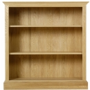 Chichester solid oak low open bookcase with two