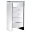 FurnitureToday Contemporary Mirrored 5 Drawer Tallboy