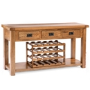 Cotswold Rustic Oak 3 Drawer Console Table with