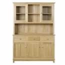 Winchester solid oak glazed 3 door dresser