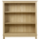 Winchester solid oak low open bookcase with two