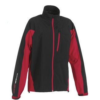 ARN FULL ZIP GORTEX MENS GOLF JACKET BLACK/CHILLI RED / LARGE