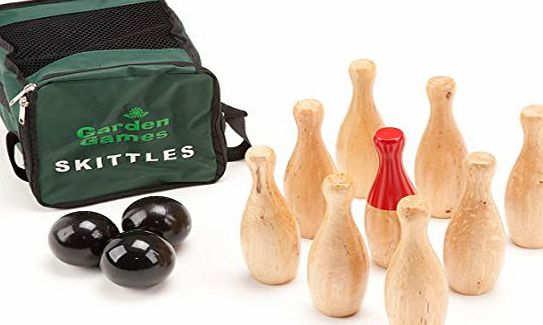 Garden Games Garden Skittles Set 23cm tall - premium polished hardwood 9 pin set in a handy carry bag