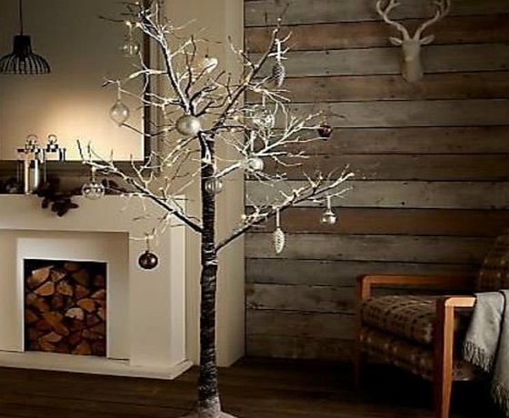garden mile ® Rustic Luxury Brown Twig Branch Tree With Snow Effect Pre-lit With LED Lights Christmas Tree Rustic Snow Effect Tree Winter Branches (4FT)