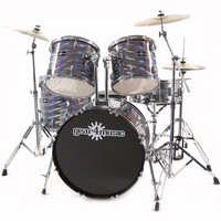 Deluxe Drum Kit by Gear4music Laser Met. Silver