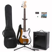 Gear4Music Electric G-4 Bass  35W Amp PackSUNBURST