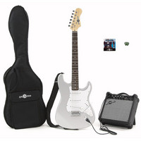 Gear4Music Electric-ST Guitar   Amp Pack SILVER