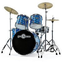 GD-51 Deluxe Drum Kit by Gear4music Laser Blue
