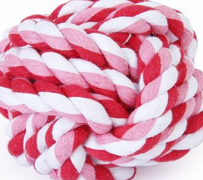 Generic 9cm Pet Dog Braided Cotton Rope Knot Ball Chew Toys Teeth Cleaning Ball---Random Color