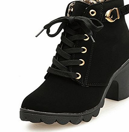 Generic Casual Shoes Chunky Heel Short Boots High Heel Side zipper Martin Boots Thick Soled Shoes (5, Black)