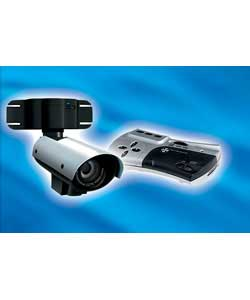 GET digital video recorder black and white motorised pan, tilt CCTV camera system.DVR records CCTV - CLICK FOR MORE INFORMATION