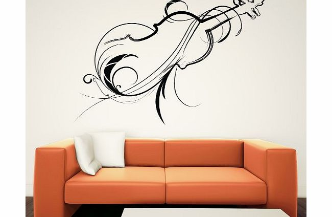 Decorative Violin Wall Art Decals Wall Stickers 01 - Vinyl Sticker Wall Art Deco Decal - 50cm Height,50cm Width - Black Vinyl