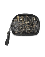 Ghibli Black Jeweled Python Leather Zip Coin Holder product image.