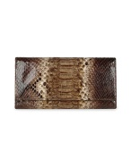 Ghibli Ladies' Brown Python and Calf Leather Continental Wallet.