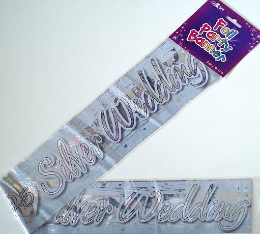 Gift Zone SILVER 25TH WEDDING ANNIVERSARY FOIL PARTY WALL DECORATION ...