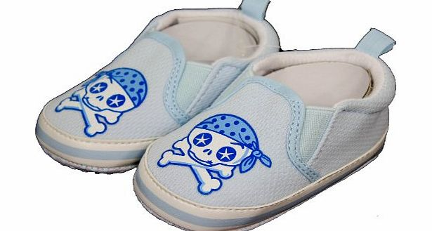 Glamour Girlz Baby Girls Boys Cute Skull amp; Crossbones Print Slip On Shoes Slippers Blue 6-12 Months