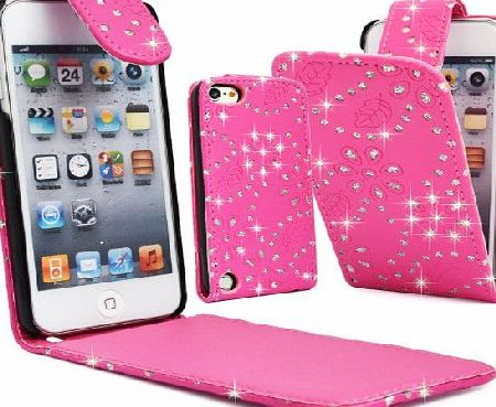 GLITZY GIZMOS PINK DIAMOND GLITTER BLING GEM SPARKLY PU LEATHER SECURE MAGNETIC FLIP CASE COVER POUCH FOR APPLE iPOD TOUCH 5 5G 5th GENERATION 5th GEN