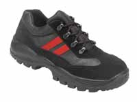 Black leather training shoe with red stripe design and shock absorbing heel.Manufactured to EN345200 - CLICK FOR MORE INFORMATION