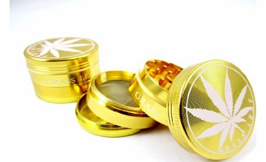 GNA METAL GOLD GRASSLEAF 40MM SHARK TEETH MAGNETIC 4 PART GRINDER HERB WEED POLLINATOR AMSTERDAM GRINDER product image