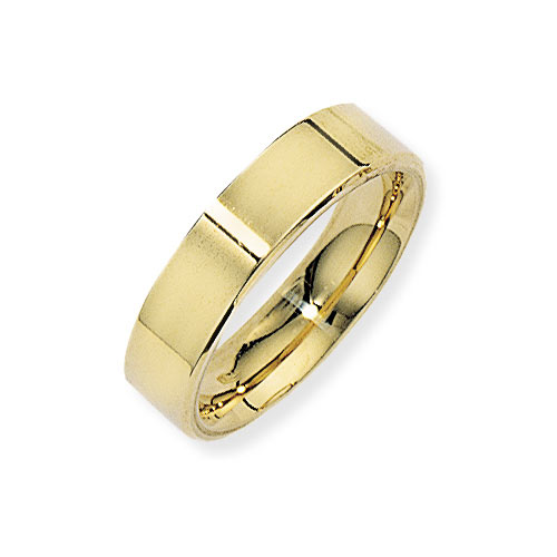 5mm Flat Court Band Ring Wedding Ring In 9 Ct Yellow Gold ring wedding