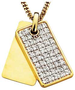 Gold Plated Silver Cubic Zirconia Set Dog Tag Pendant product image