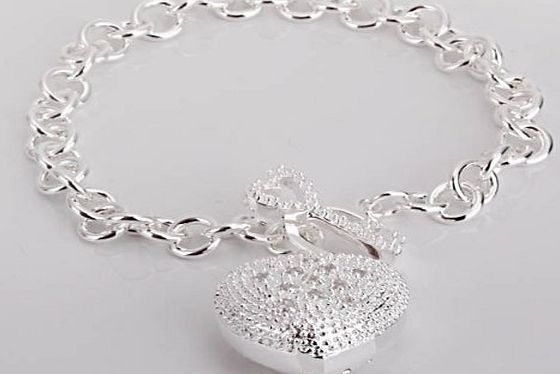 New Fashion Jewelry Classic 925 Sytle Women Beautiful solid silver Jewelry Heart Bracelet +velvet pouch