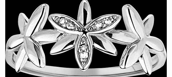 Goldsmiths Diamond set flower ring in 9 carat white gold
