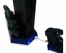 Dual cooling fan console stand charging stand for PS4 - Black