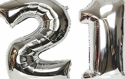 Good Deals Online Large 30`` Classy Silver Helium Foil Balloons for 16th to 90th Birthdays, Anniversaries, Wedding Party, New Years Eve, Holidays, Surprise Party, (21st)