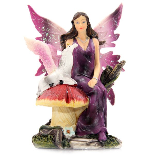Fairy Sitting Mushroom with Winged