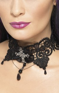 Such a pretty neck! This black lace choker positively invites a nibble. This tight necklace will accentuate your most attractive feature, to a vampire that is. - CLICK FOR MORE INFORMATION