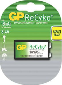 GP Batteries, 1228[^]6993G ReCyko  Rechargeable Battery 9V 6993G