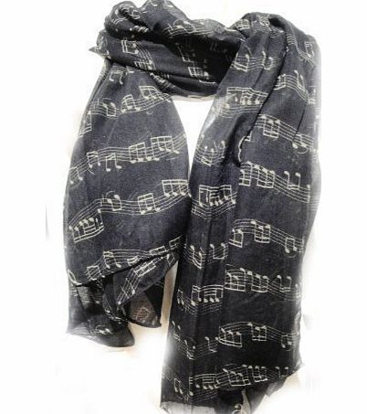 Music Scarf - Musical Piano Violin Notes Classical Mozart Style Crotchet Quaver Scarf (Black)