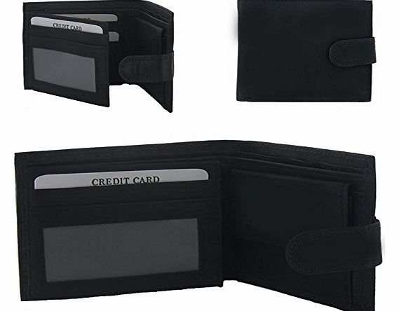 Mens / Mans / Gents / His / Him - Genuine, Real Leather Black Wallet / Popular / Best / Top Selling Executive / Christmas / Xmas Gift / Present Ideas