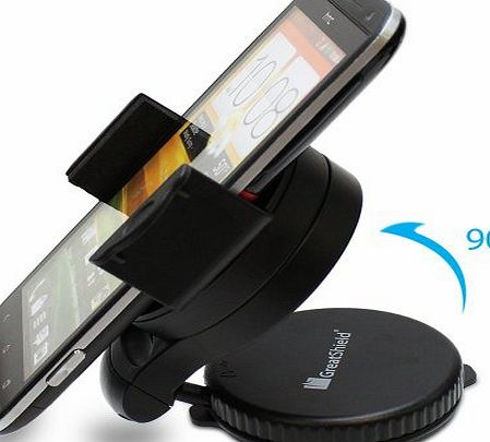 Windshield Dashboard Universal Smart Holster Car Mount for Samsung Galaxy S4/S3/S3 Mini, Note 3, Blackberry Z10/Q10, iPhone 5/5S/5C/4S, Google Nexus 4, HTC One, LG G2, Sony Xperia Z and No