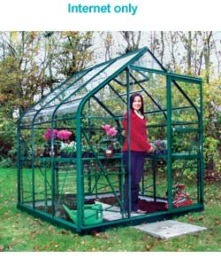 Curved Eave Greenhouse with Safety Glass - 8x12ft