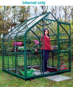 Curved Eaves Greenhouse with Safety Glass - 6x6ft