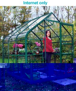 Curved Eaves Greenhouse with Safety Glass - 6x8ft