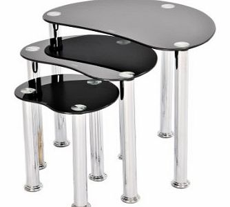 GRS GLOBAL NEST OF 3 COFFEE TABLES SIDE END TABLE BLACK GLASS SET
