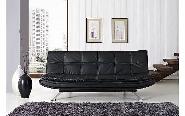 GRS Stunning Italian Designer Sofa Bed Black or Brown Faux Leather 3 Seater Chrome (Black) product image
