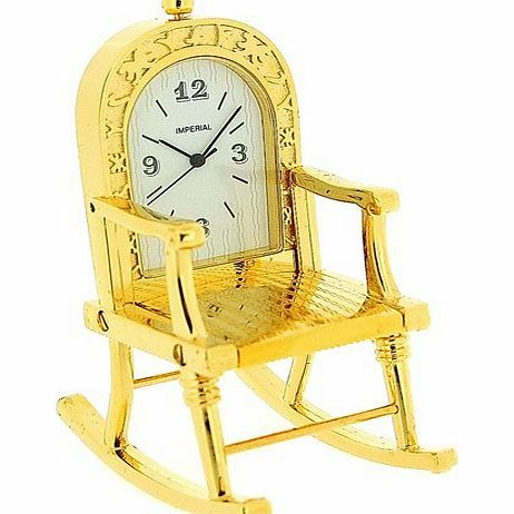 GTP Miniature Gold Plated Metal Rocking Chair Novelty Collectors Clock IMP99 product image